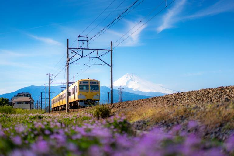 JR Izuhakone Tetsudo-Sunzu Line with Mt. Fuji