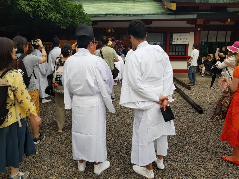 Shinto priests at Hie Shrine