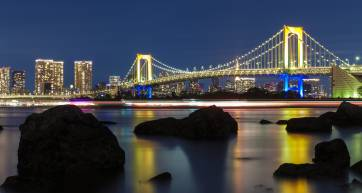 tokyo rainbow bridge at night