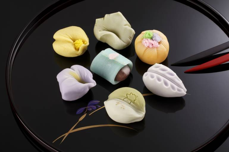 Japanese traditional confectionery cake wagashi on plate