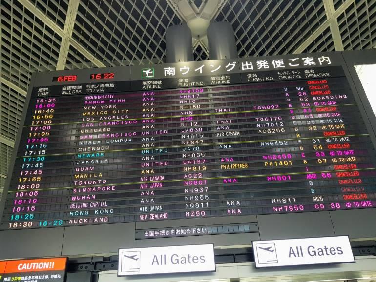 Cancelled flights at Narita Airport