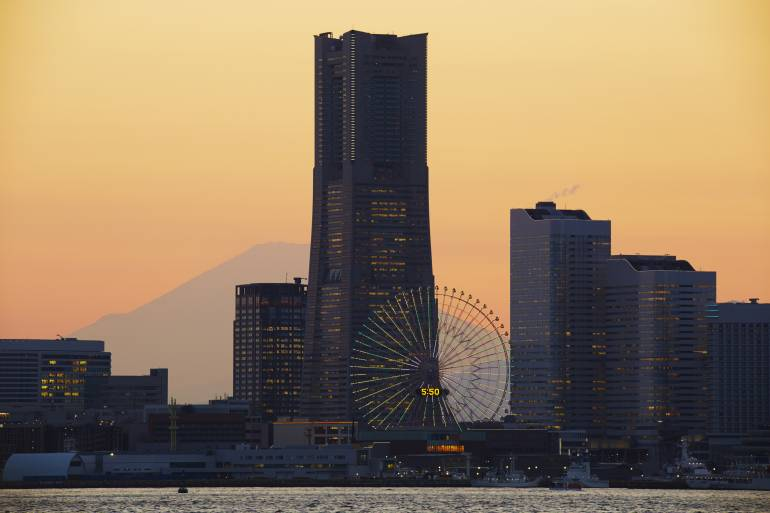 Yokohama waterfront at dusk