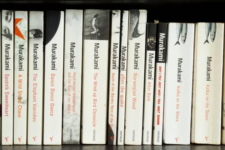 murakami novels on shelf