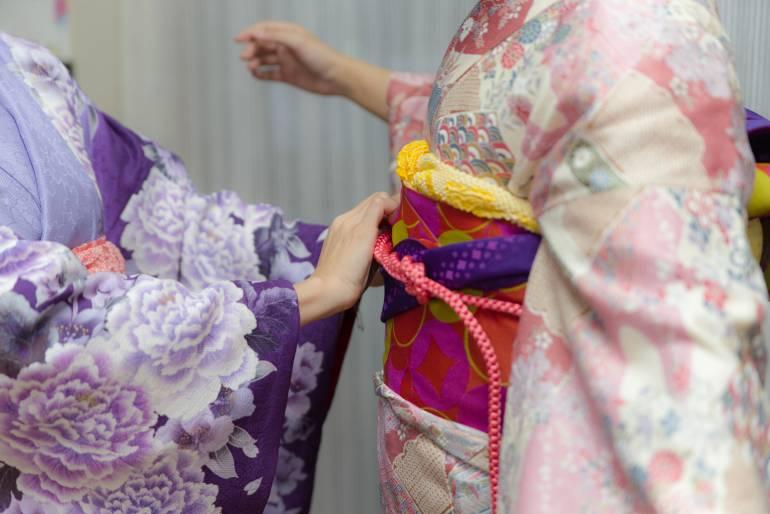 Japanese woman wearing a kimono