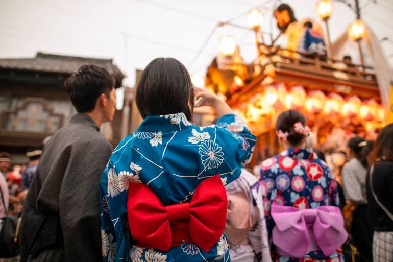 Yukata couple at a festival