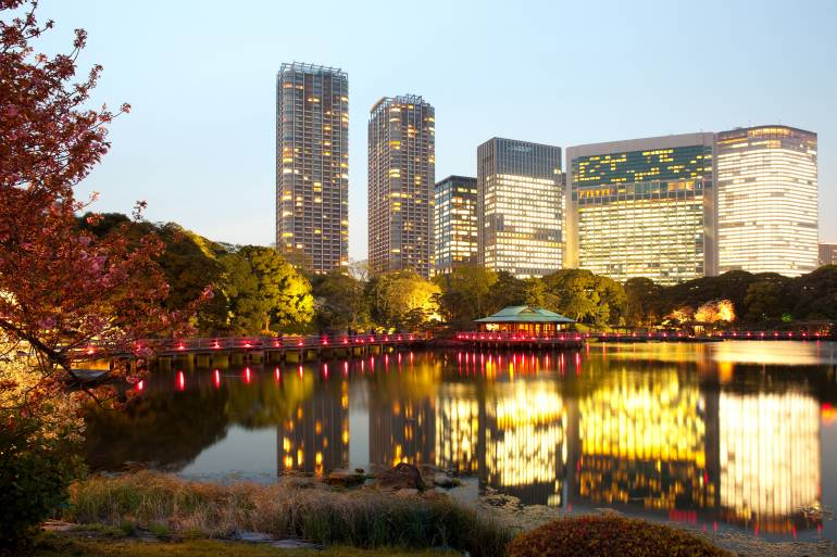 Evening lights at Hamarikyu Gardens