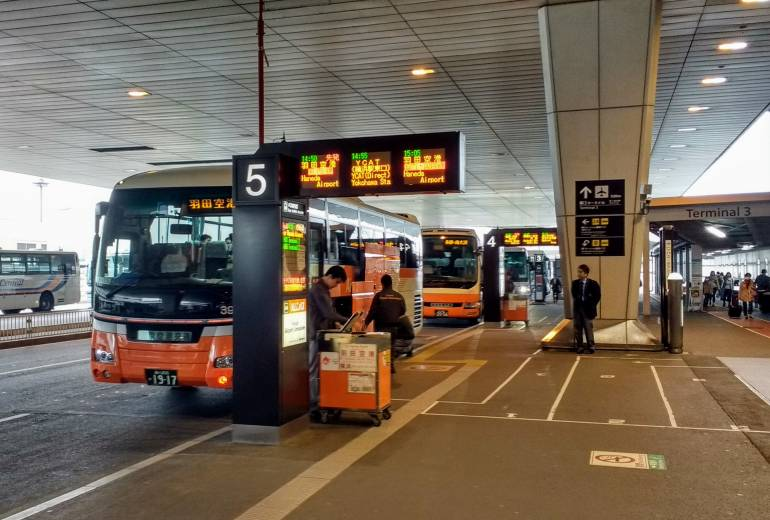 Limousine bus stopped at Narita Airport