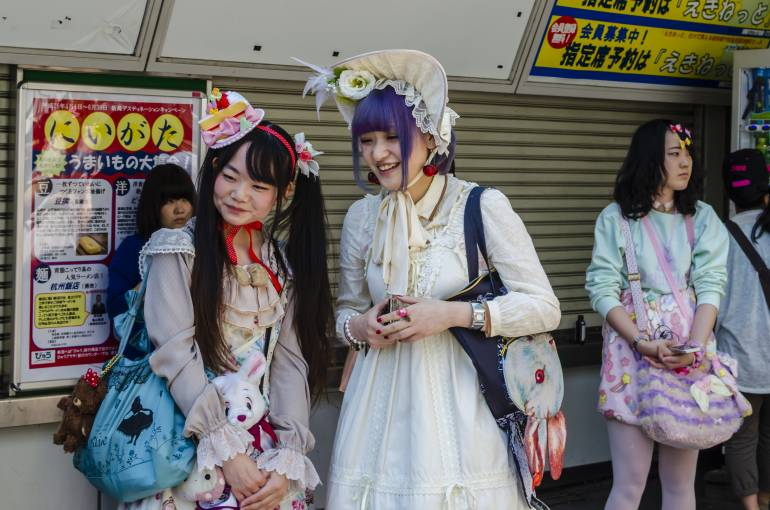 Two girls dressed in Lolita goth fashion circa 2014