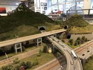 Diorama with trains at Itoigawa Station