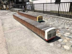 Train-shaped benches at Unazuki Onsen