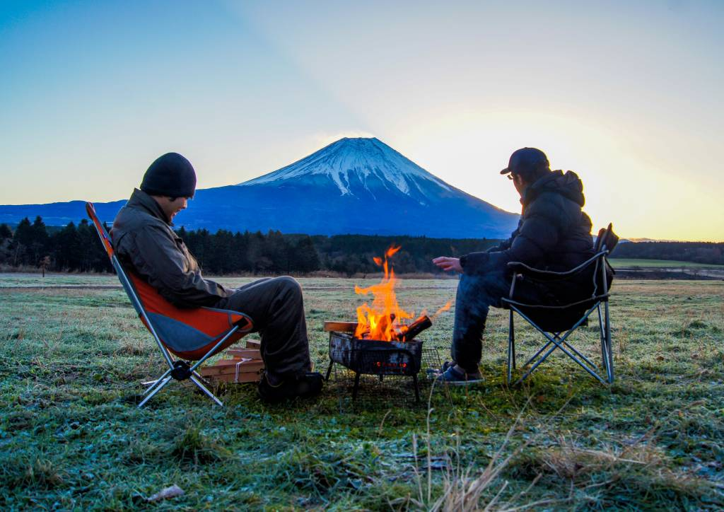 morning bonfire at the base of Mt. Fuji