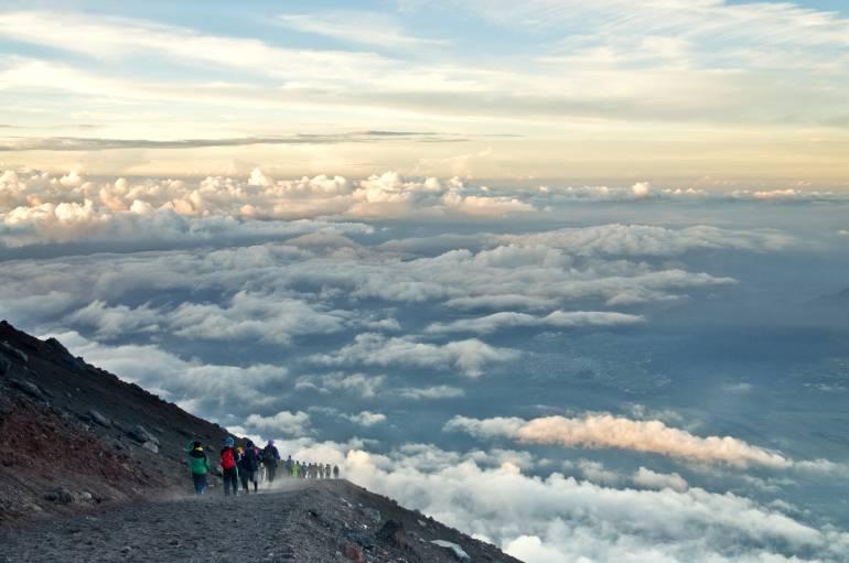 Climbing and descending Mt. Fuji