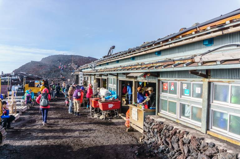 There is a mountain hut with some shops at the summit