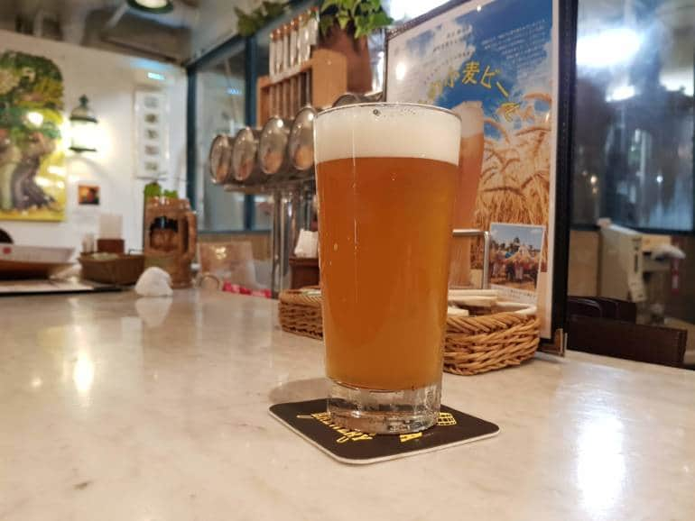 A freshly poured glass of Yokohama Pale Ale
