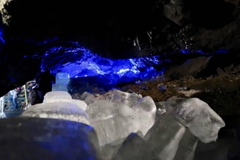 blue lighting in Narusawa Hyoketsu Ice Cave