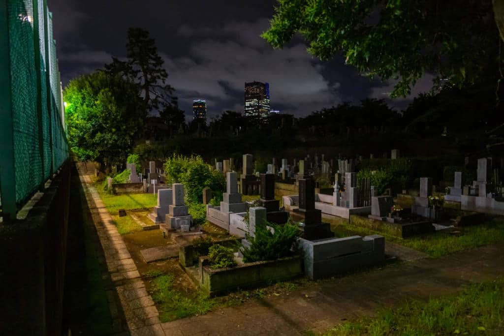Aoyama cemetery by night