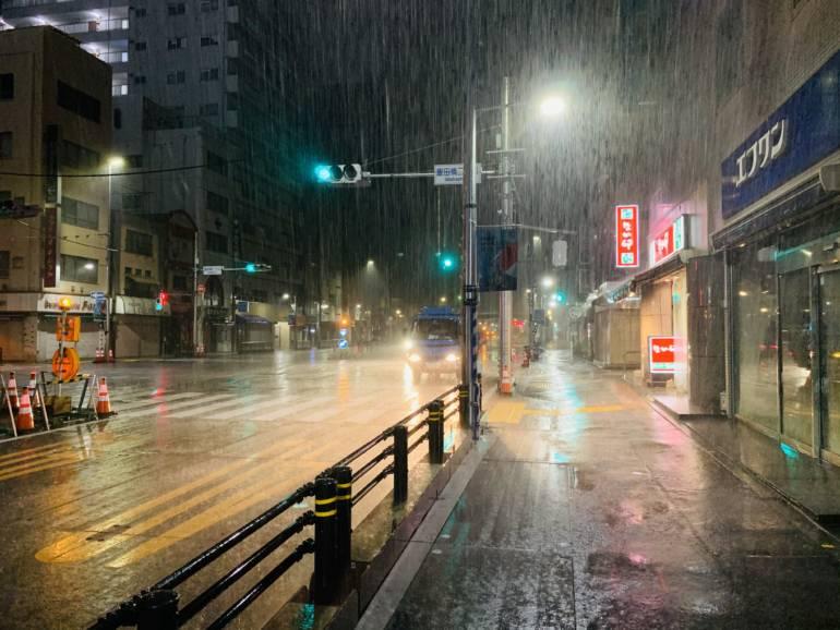 tokyo typhoon rain