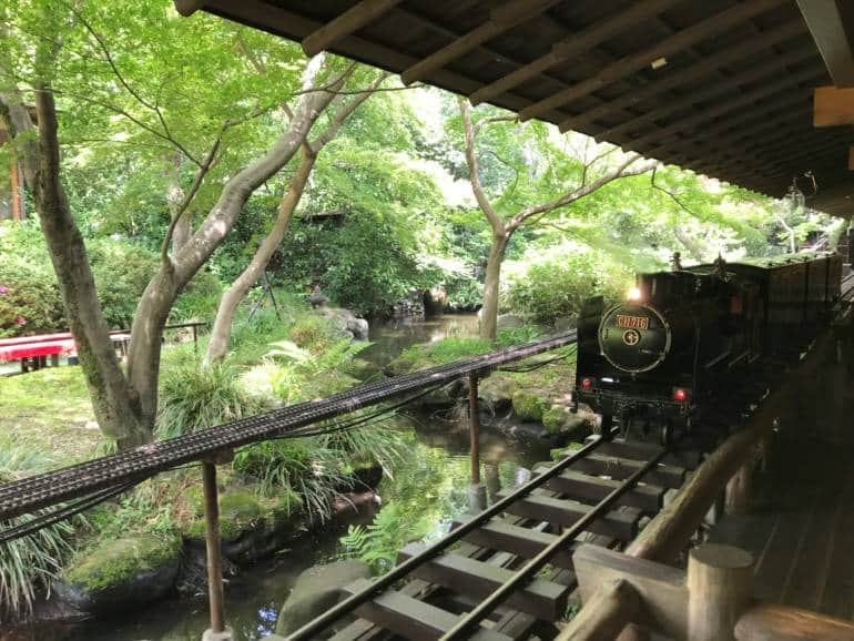 train in traditional Japanese garden