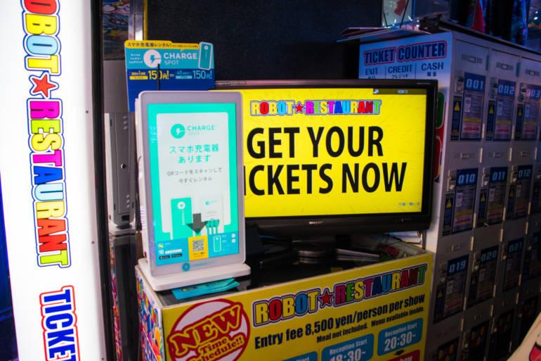 robot restaurant ticket machine tokyo