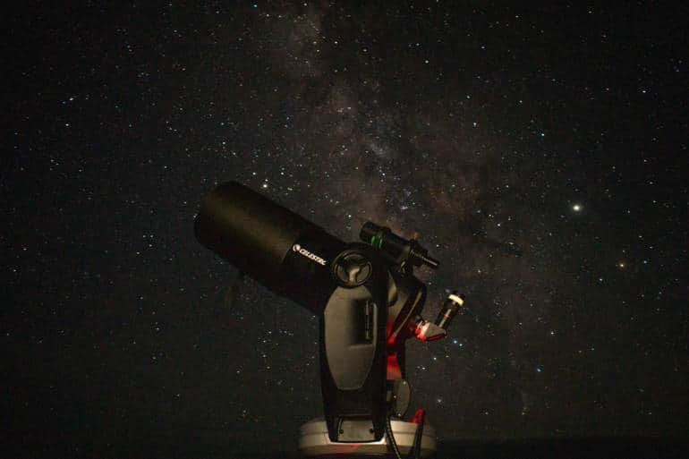 stargazing with telescope on Kozushima