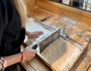 cutting udon noodle dough