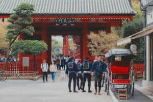 Rickshaws lined up in front of Sensoji Temple