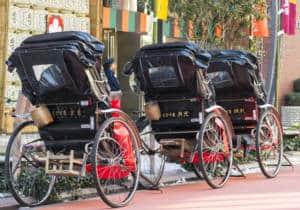 Japanese rickshaws in the traditional neighbourhood of Asakusa in Tokyo, 2018