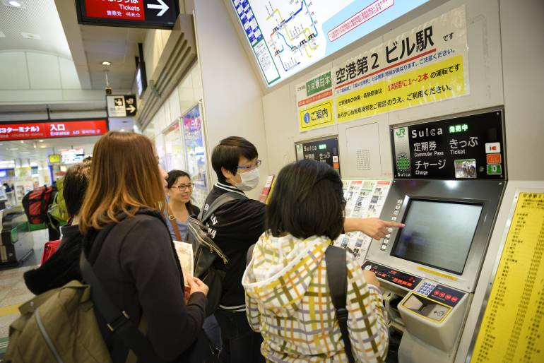 Buying train tickets or travel cards