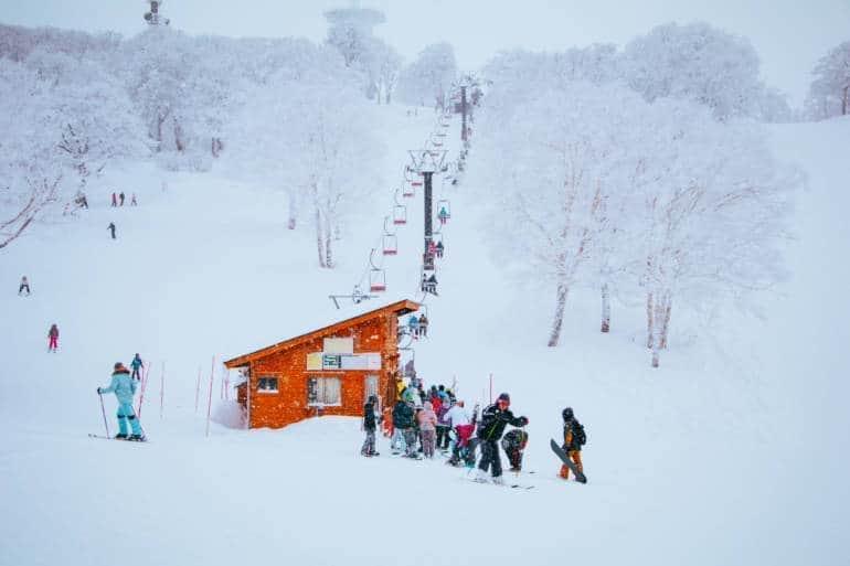 skiers at nozawa