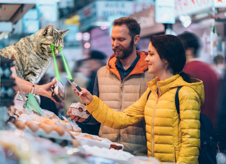 Street market cashless payment, plus photoshopped laser cat