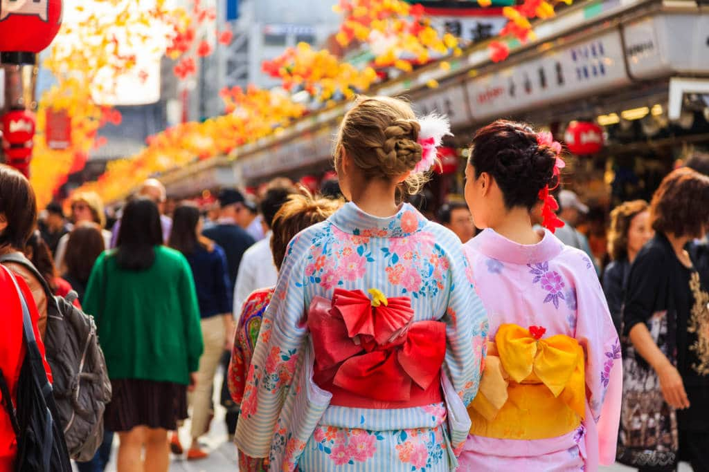 Kimono wearing at Sensoji, Asakusa