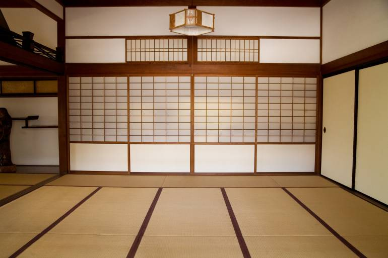 Plain brown Japanese style room with shutters