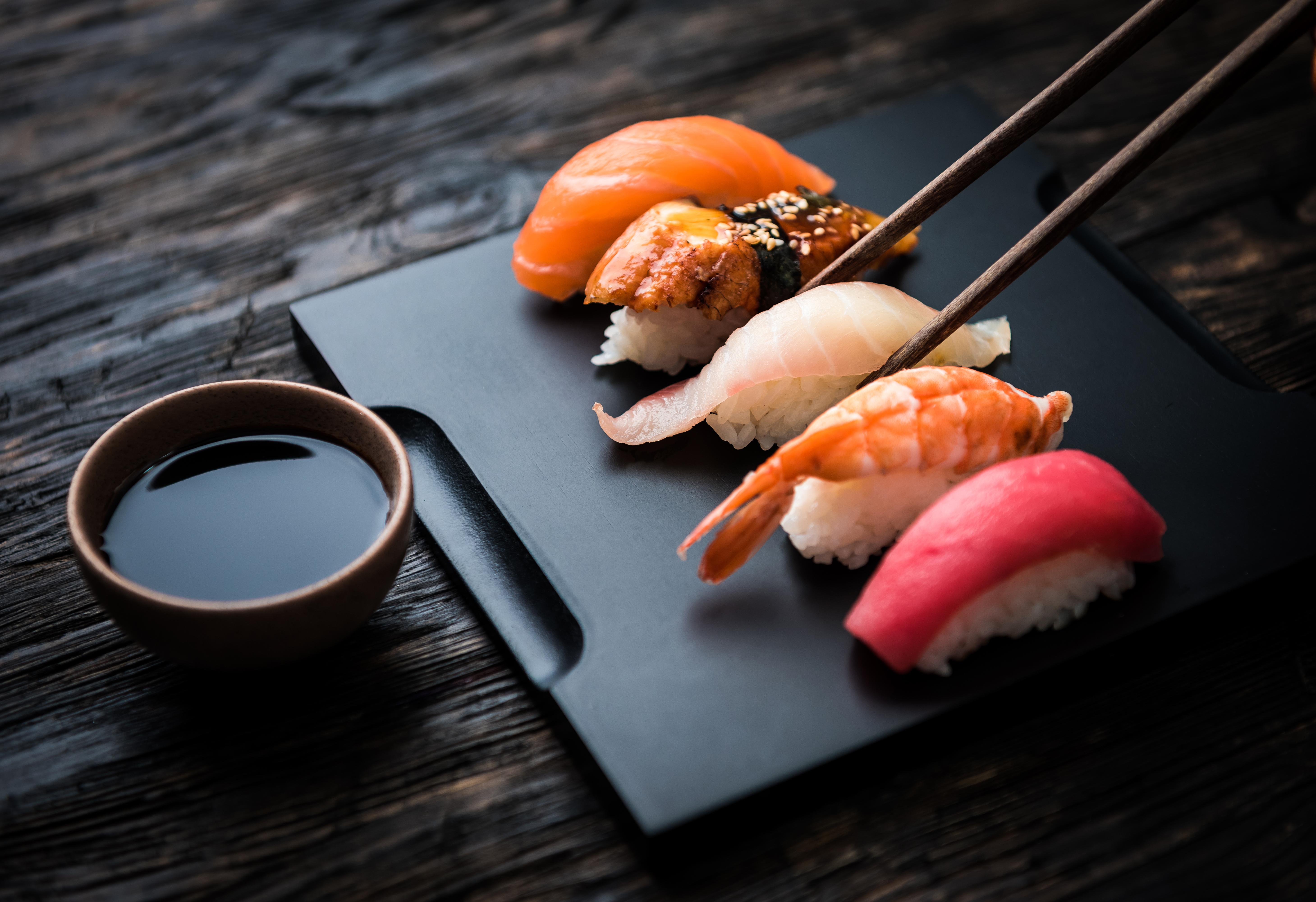 Sushi, chopsticks