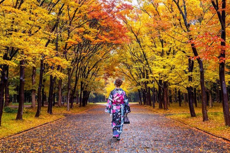 Tokyo fall park kimono