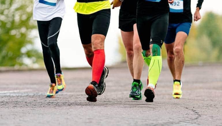 running legs in socks