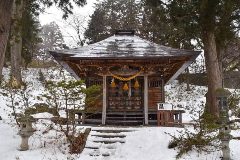 shrine in zao onsen, japan