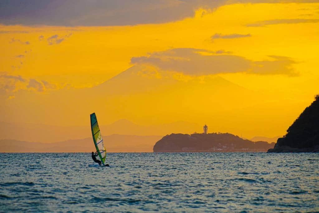 Mount Fuji and Enoshima and Yacht silhouette (Zushi coast). Shooting Location: Kanagawa Prefecture Zushi