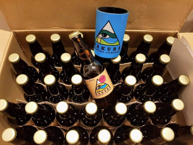 A box of craft beer from Hakuba Brewing