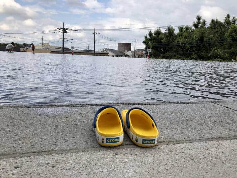 paddling area and crocs outside kadokawa museum
