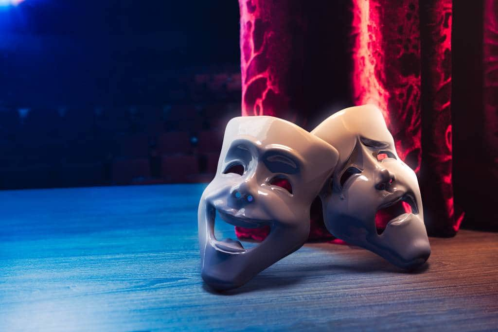 theater masks on stage