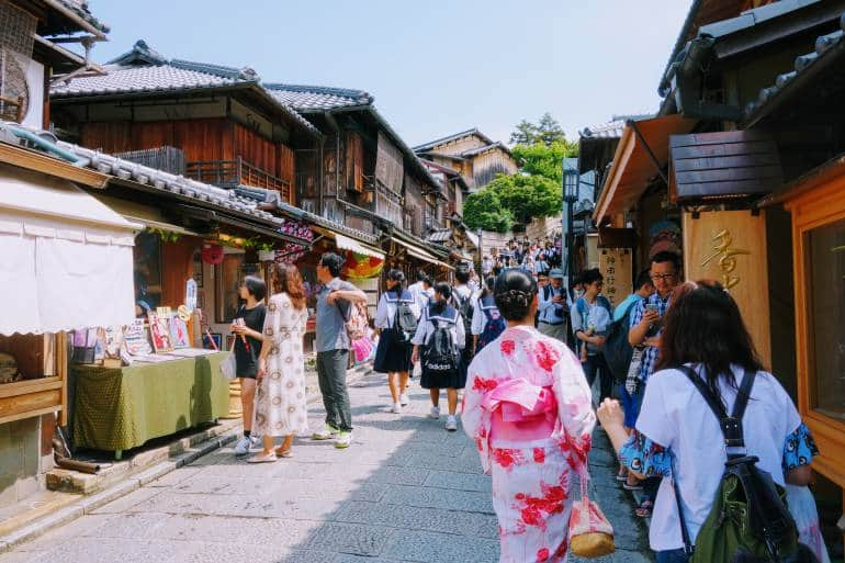 traditional Kyoto street with small shops