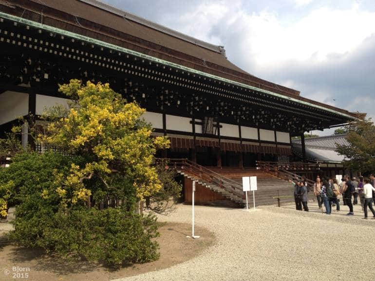 Kyoto imperial palace with visitors near the entrance