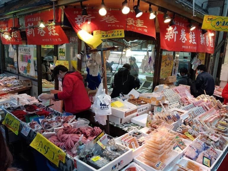 Seafood stall in Jujo