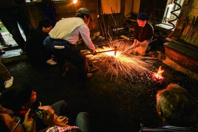 blacksmiths working metal in nagahama