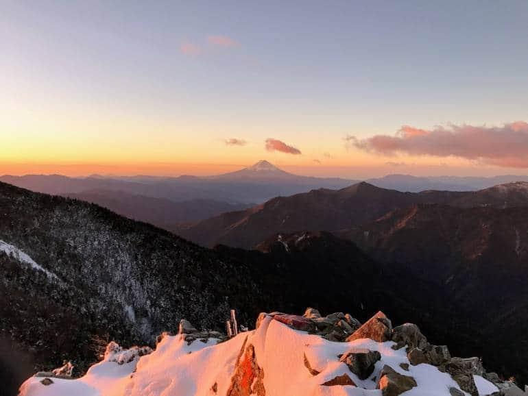 Dawn view of mount Fuji from summit of Kobushigatake