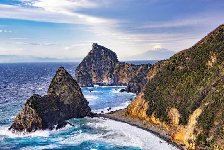 Sengamon Rock, with Fuji Mountain Background at Kumomi, Matsuzaki, Izu Peninsula, Shizoka, Japan