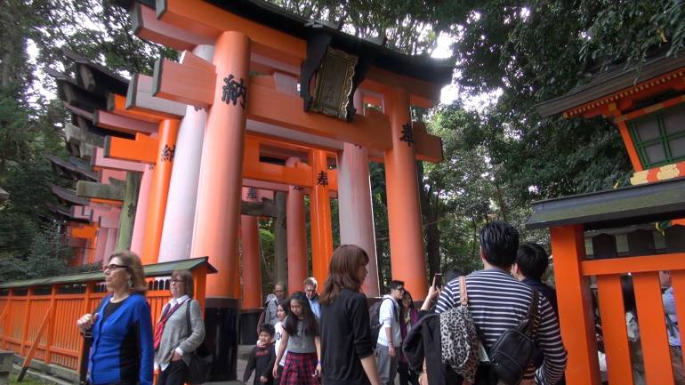 The shrine can be crowded during the day.