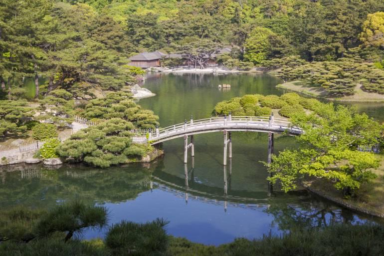 Genkyu-En Garden, Japanese garden in Hikone, Shiga Prefecture, Japan