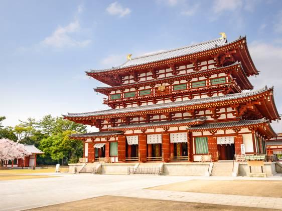 Yakushi-ji Temple Kyoto in the spring