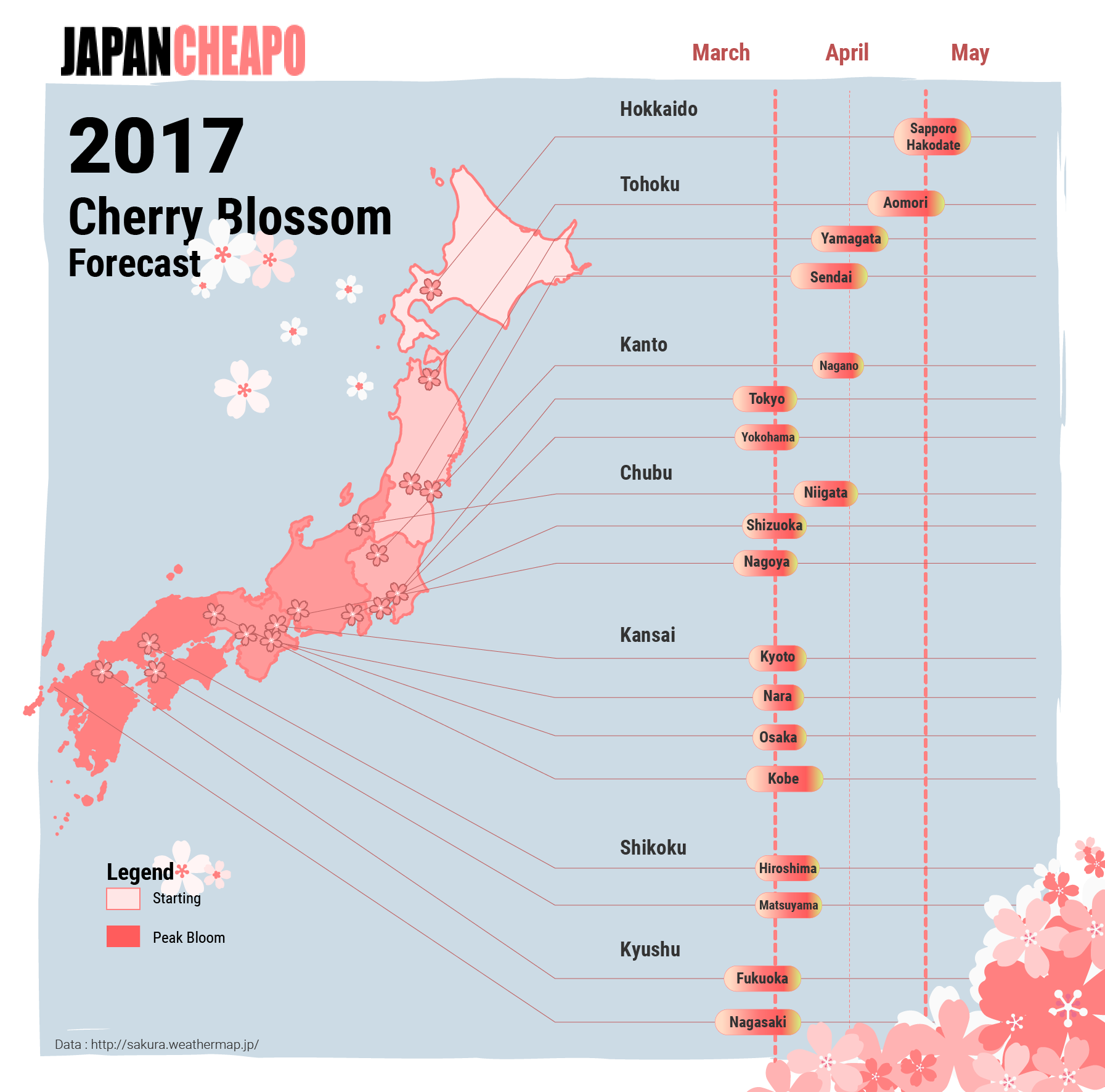 Jungle Maps Map Of Japan Cherry Blossoms